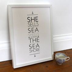 'she sells sea shells on the sea shore' print by ros shiers | notonthehighstreet.com