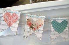 Vintage Sheet Music bunting - with Mel's colors in the hearts?