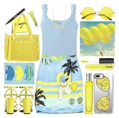 """""""Yellow and Blue"""" by grozdana-v ❤ liked on Polyvore featuring Uniqlo, Iceberg, MAC Cosmetics, Casetify, Hermès, Valentino, Caterina Lucchi, Rodial and Sydney Evan"""