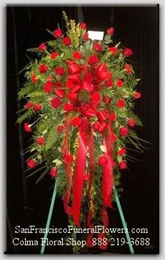 Floral Spray with South American Red Roses, Funeral Flowers, Sympathy Flowers, Funeral Flower Arrangements from San Francisco Funeral Flowers.com Search for chinese funeral, sympathy funeral flower arrangements from our SanFranciscoFuneralFlowers.com website. Our funeral and sympathy arrangements include crosses, casket covers, hearts, wreaths on wood easels, coronas fúnebres, arreglos fúnebres, cruces para velorio, coronas para difunto, arreglos fúnebres, Florerias, Floreria, arreglos…
