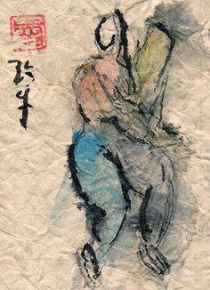 Sumi Cat: Chinese Figure