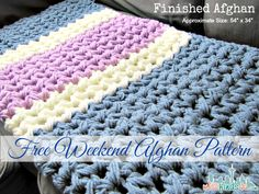 Free Crochet Pattern - Easy Afghan - Complete it in a weekend! #free #easy #afghan #crochet #pattern