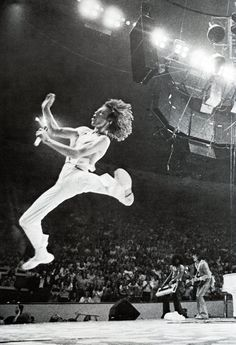 Mick Jagger in flight again onstage-wow! I mean who else can jump that high who isn't say, an Olympian?