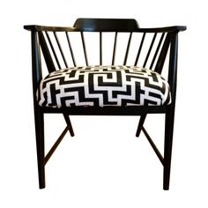 Black & White Mid-Century Spindle Chair - $300 Est. Retail - $200 on Chairish.com