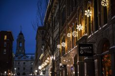 Portland, Maine Old Port Exchange Street Snowflake Lights photo by Corey Templeton