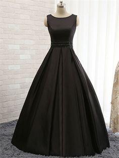 Amazing Straps A-Line Floor Length Beaded Waist Lace-up Back Black Satin Prom Dress