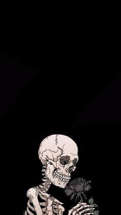 Skull Wallpaper, Cute Black Wallpaper, Gothic Wallpaper, Black Background Wallpaper, Hippie Wallpaper, Black Wallpaper Iphone, Dark Wallpaper, Aesthetic Iphone Wallpaper, Skeleton Art