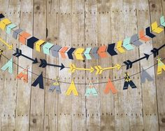 Set of 3 Tribal Banners - Tribal Garlands-Tribal Baby Shower- Tribal Party Decorations- Arrow Banner- TeePee Banner- Tribal Nursery Paper Party Decorations, Birthday Party Decorations, Baby Shower Decorations, Anniversaire Cow-boy, Grey Pumpkin, Tribal Baby Shower, Tribal Nursery, Party Banners, Birthday Banners