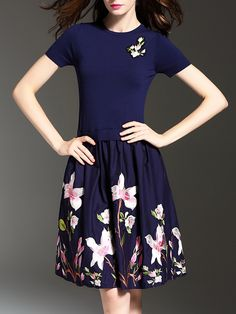 Blue Knit Flowers Embroidered A-Line Combo Dress - classy womens fashion outfits - http://airctb.com/product/blue-knit-flowers-embroidered-a-line-combo-dress/
