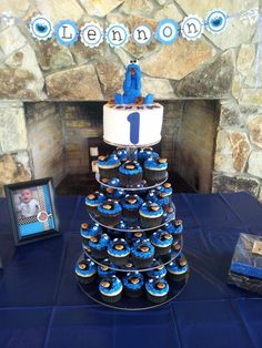 Cookie Monster First Birthday cake and cupcakes!