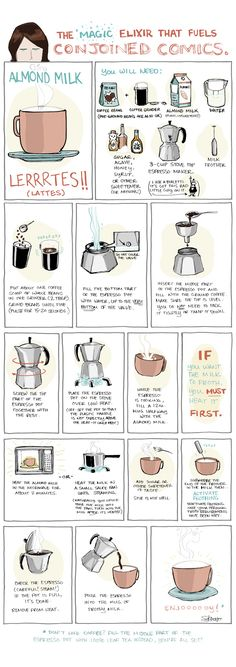 Illustrated recipe for almond milk lattes. Can be done with tea