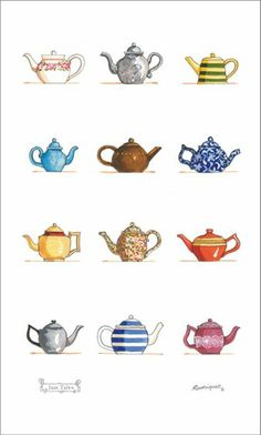 Teapots tea towel by Red Tractor Designs Food Illustrations, Illustration Art, Tee Kunst, Red Tractor, Buch Design, Teapots And Cups, Tea Art, My Cup Of Tea, Drinking Tea
