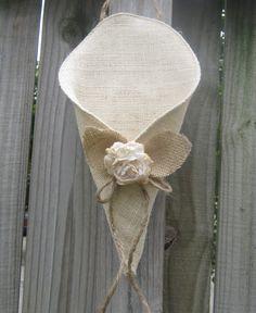 Burlap Cone flower holder wedding pew decoration by gypsyskies, $14.95