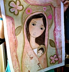 New! Madonna in Pink  Large Print on Fabric from Original by FlorLarios, $45.00
