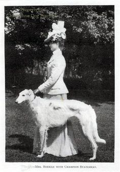 Victorian lady with borzoi