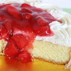 A Sweet recipe for fluffy vanilla cake served with whipped cream and fresh strawberry sauce.. Vanilla Cake With Whipped Cream and Strawberries. Recipe from Grandmothers Kitchen.