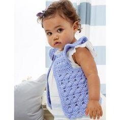 Flutter-Bye Baby Vest Free Crochet Pattern from Bernat via Yarnspirations. Sized for 6, 12 and 18 months.