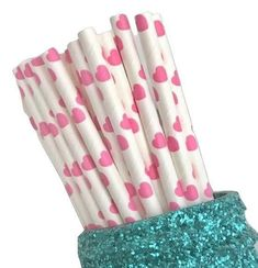 "7.75"" hot pink jumbo heart print paper straws / 6-25 pieces"