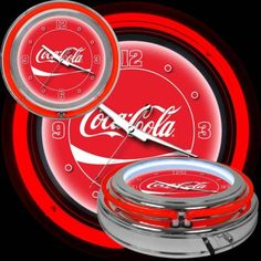 Coca Cola RED Clock CHROME Neon Double Ring Lights Up Vintage Wall Home Decor #Cocacola #Chrome #Red #Lightsup #HomeDecor #WallClock #VintageLook