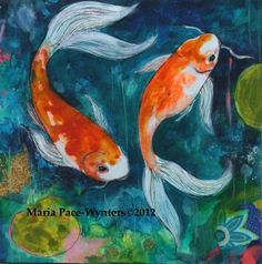 Two Koi Pond Original mixed media painting by by MariaPaceWynters, $280.00