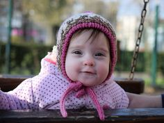 Baby girl bonnet for winter, thick kids bonnet, pink-white-brown hat, girls hat, hand knit hat with tassel and ties, size 6-12 month by TinyOrchids on Etsy