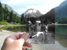 dear photograph Foto von Kindern am See vor Berg