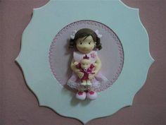 porta maternidade menina em biscuit  contato:arteira_2010@hotmail.com