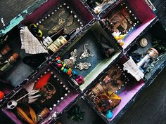 New Orleans House of Voodoo Shadow Box  Boho Decor  Wall