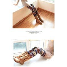 Multi Color Striped Snowflake Print Women's Stretch Legging -... via Polyvore