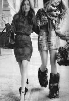 sweater dresses and fuzzy boots