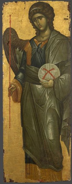 Gabriel the Archangel Century: XIV, Storage location: Mount Athos monastery of Vatopedi, Size: 112 x 42 cm Archangel Gabriel, Archangel Michael, Byzantine Icons, Byzantine Art, Religious Icons, Religious Art, Angel Protector, Russian Icons, Best Icons