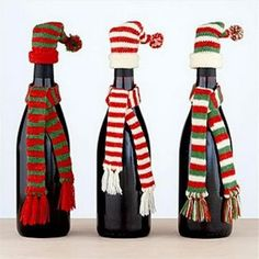 Wine Bottles in a cap and scarf
