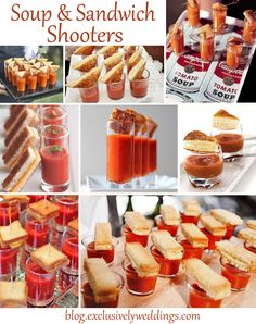 Soup and Sandwich Shooters - If want your guests to be impressed with your creativity, consider serving some or all of the food in shooters, especially if you are DIY-ing some or all of your reception meal. Tapas, Iftar, Wedding Appetizers, Wedding Reception Food, Food Stations, Soup And Sandwich, Sandwich Ideas, Mini Foods, Creative Food