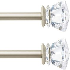 The Qiteri curtain rod set features fashion acrylic diamond finials. Visually cool and noble. Adjustable Length:3/4-Inch diameter decorative curtain rod adjusts from 28 to 48 inches. Make great addition to your Christmas and holiday decoration. Perfect decor in bedroom, living room, dining room, office, or kitchen, It is also a great choice for home decorations. Easy Installation: Our diamond curtain rod installs easily and comes with all mounting hardware, including screws, anchors, and… Ceiling Mount Curtain Rods, Gold Curtain Rods, Outdoor Curtain Rods, Curtain Brackets, Hanging Curtain Rods, Decorative Curtain Rods, Finials For Curtain Rods, Drapery Rods, Window Curtain Rods