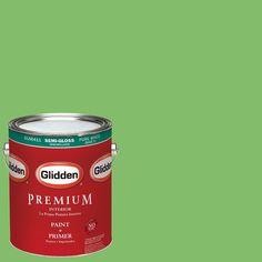 Glidden Premium 1-gal. #HDGG40D Lollipop Lime Semi-Gloss Latex Interior Paint with Primer