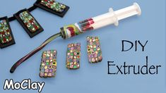 DIY craft - Make your own polymer clay extruder at home. You dont have an extruder? or maybe you are a teacher and you need many extruders and you cannot buy them? This is a cheaper way to make an extruder at home. Watch the video and have fun! Clay Extruder, Polymer Clay Tools, Polymer Clay Canes, Fimo Clay, Polymer Clay Projects, Polymer Clay Jewelry, Resin Crafts, Plastic Fou, Biscuit