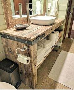 Diy Bathroom Vanity, Rustic Bathroom Vanities, Rustic Bathroom Decor, Diy Vanity, Bathroom Interior, Modern Bathroom, Small Bathroom, Bathroom Ideas, Vanity Ideas