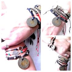 Stacked friendship bracelets by www.catewoodcollections.co.uk
