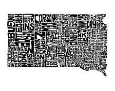 South Dakota typography map art print 5x7 customizable by CAPow