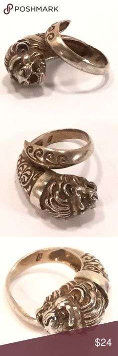 Sterling Lion Head Ring Coiled sterling silver ring with a lion head. About a size 5, but can be adjusted slightly.   ❤️❤️ BUNDLE to SAVE on POSTAGE ❤️❤️   (846) Jewelry Rings