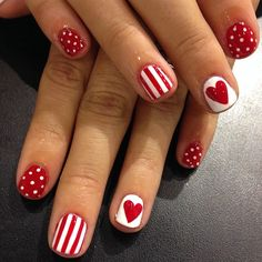.@WAH Nails | Super cute red and white mix n match by WAH girl Georgia at our Topshop salon! | Webstagram
