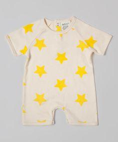 Look at this #zulilyfind! Yellow & White Star Organic Romper - Infant #zulilyfinds