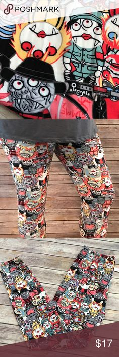 Plus Size Leggings Little Monsters Super Soft PLUS ONE SIZE Little Monsters Faces Super Softies full length leggings, fitted style with an elastic waist band, high waist. These are PLUS ONE SIZE - fits 14-22 PRICE IS FIRM Fashion Freak LLC Pants Leggings