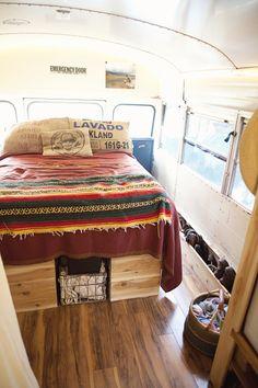 bus bedroom- note the in-floor shoe storage.