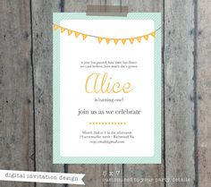 CIJ SALE First Birthday invitation - digital design only - bunting  - party invitation - baby invitation - kids birthday invitation design