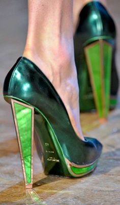 gorgeous emerald green heels by YSL! *Heels to Match*: Selected by Alicia…