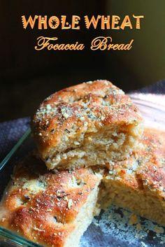 Whole Wheat Focaccia Bread Recipe - Yummy Tummy - Bread Recipes Bread Machine Recipes, Bread Recipes, Baking Recipes, Scd Recipes, Baking Ideas, Focaccia Bread Recipe, Wheat Bread Recipe, 100 Whole Wheat Bread, Whole Wheat Italian Bread Recipe