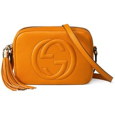 Gucci Soho Leather Disco Bag (14,005 MXN) ❤ liked on Polyvore featuring bags, handbags, yellow, leather handbags, leather cross body purse, orange leather purse, gucci purse and gucci handbags