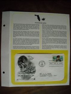 Honoring Ponce de Leon 1982 Postal Commemorative Society First Day Cover Sheet Spanish Explorer Discovered Florida in 1513 For Sale At Wenzel Thrifty Nickel ecrater store
