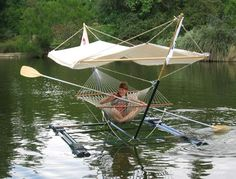 Floating down the river on a Hammock Boat--what could be better? (But I wouldn't want to have to steer the darn thing.  Can't somebody else do that??)